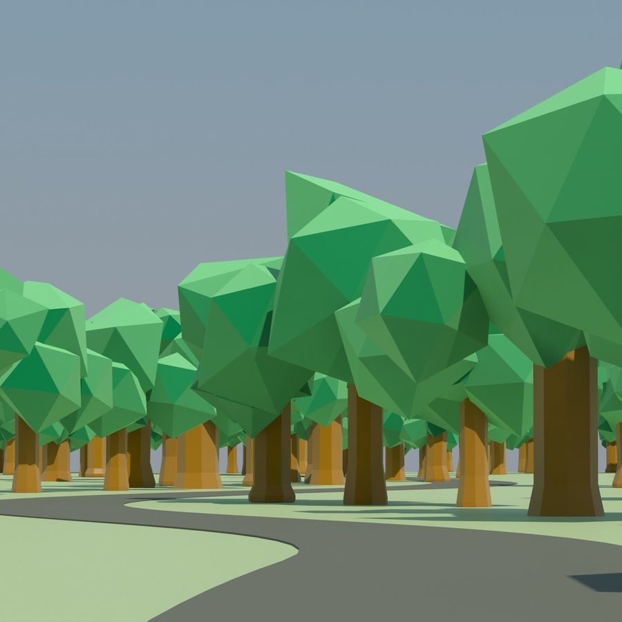 Low Poly Cartoon Trees en forest pack # 4 (groen en roze) royalty-free 3d model - Preview no. 7