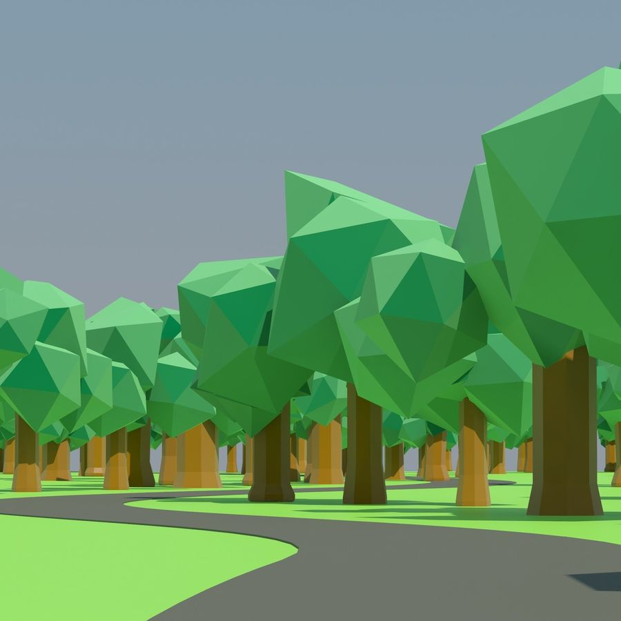 Low Poly Cartoon Trees en forest pack # 4 (groen en roze) royalty-free 3d model - Preview no. 6