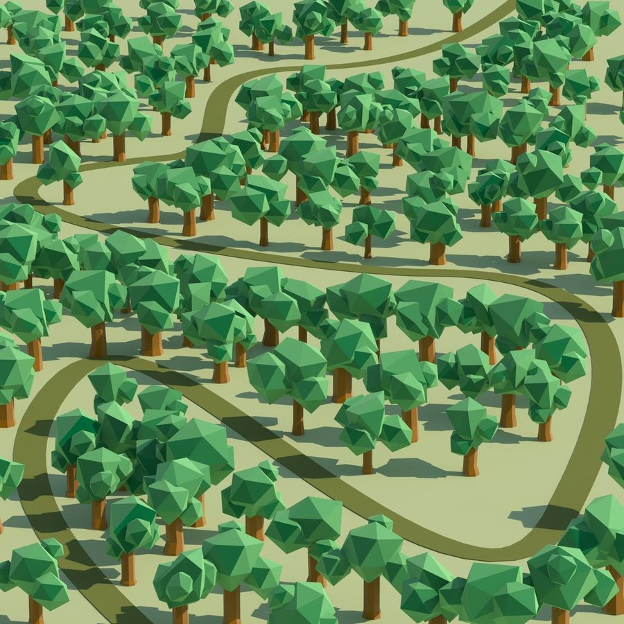 Low Poly Cartoon Trees en forest pack # 4 (groen en roze) royalty-free 3d model - Preview no. 12