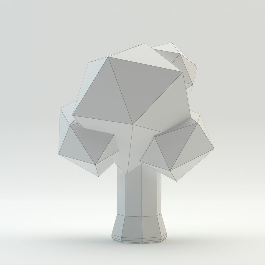 Low Poly Cartoon Trees en forest pack # 4 (groen en roze) royalty-free 3d model - Preview no. 16
