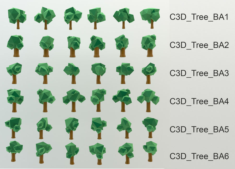 Low Poly Cartoon Trees en forest pack # 4 (groen en roze) royalty-free 3d model - Preview no. 3