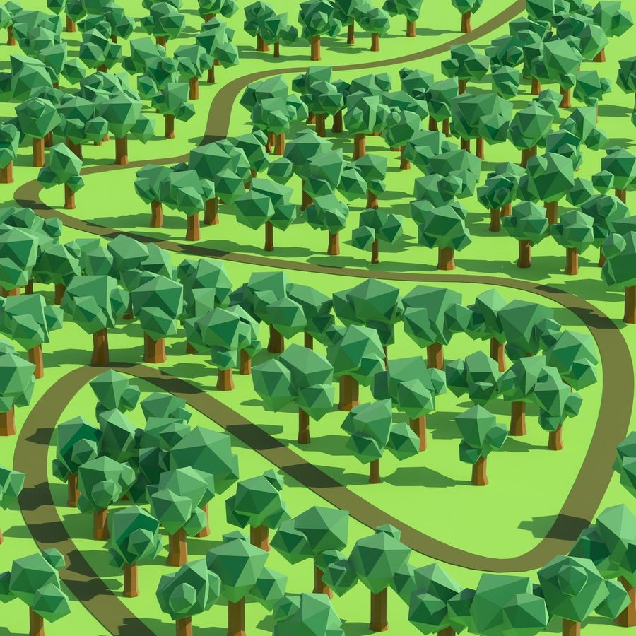 Low Poly Cartoon Trees en forest pack # 4 (groen en roze) royalty-free 3d model - Preview no. 13
