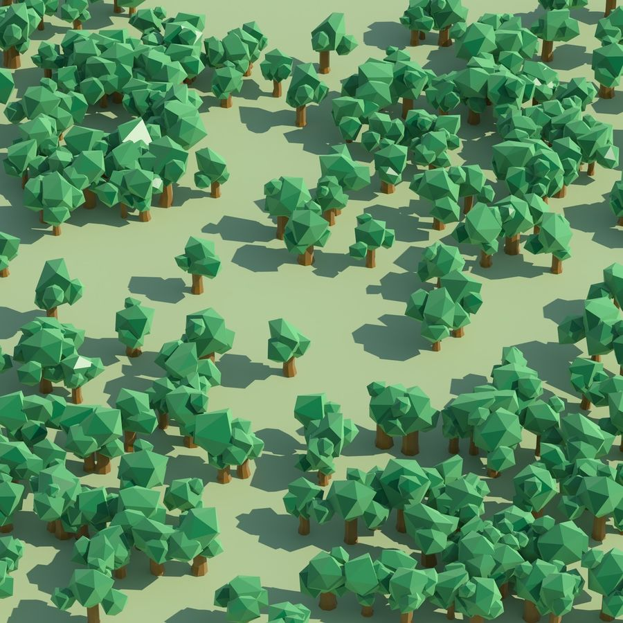 Low Poly Cartoon Trees en forest pack # 4 (groen en roze) royalty-free 3d model - Preview no. 11