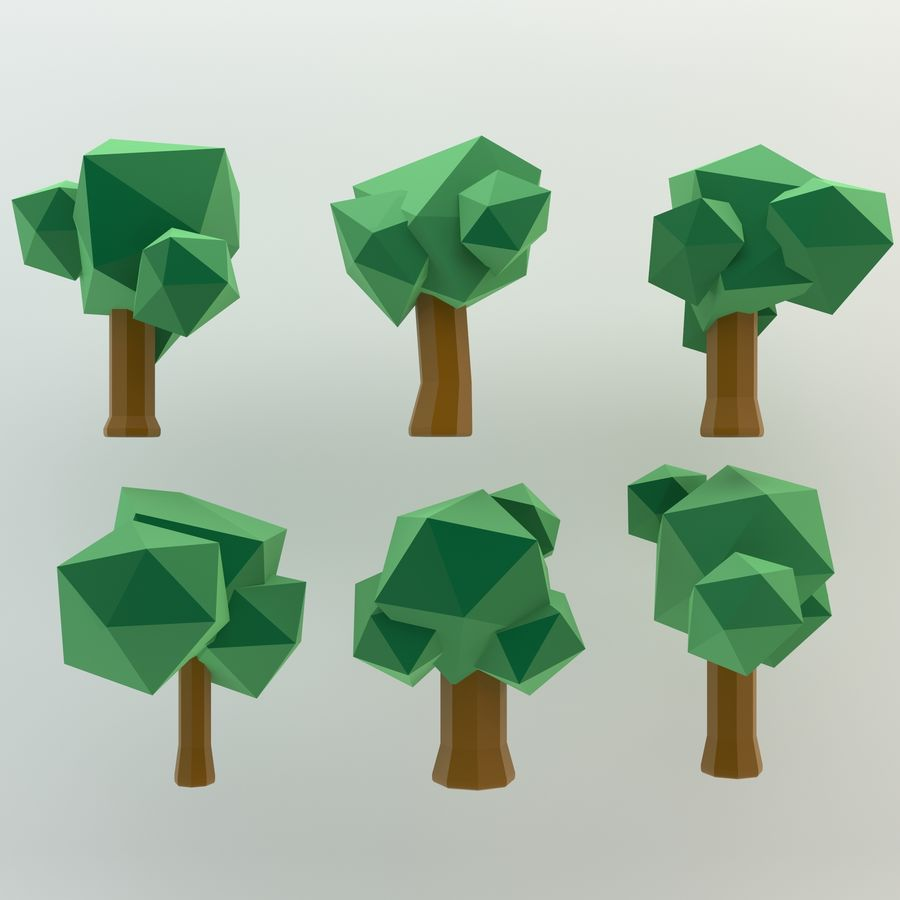 Low Poly Cartoon Trees en forest pack # 4 (groen en roze) royalty-free 3d model - Preview no. 2