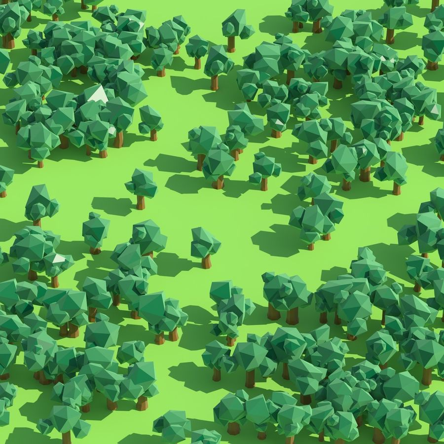 Low Poly Cartoon Trees en forest pack # 4 (groen en roze) royalty-free 3d model - Preview no. 10