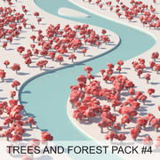 Low Poly Cartoon Trees e forest pack # 4 (verde e rosa) 3d model