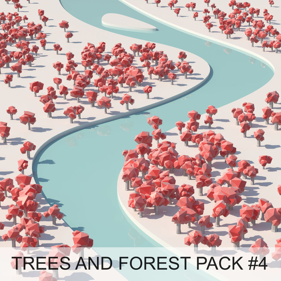 Low Poly Cartoon Trees en forest pack # 4 (groen en roze) royalty-free 3d model - Preview no. 1