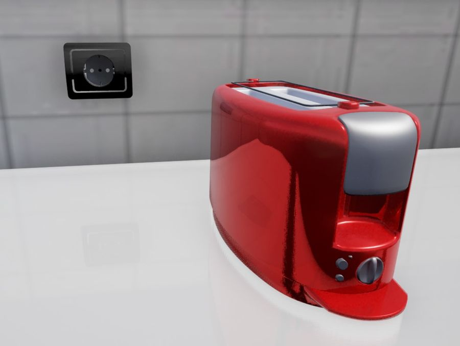 Rote Küche royalty-free 3d model - Preview no. 5