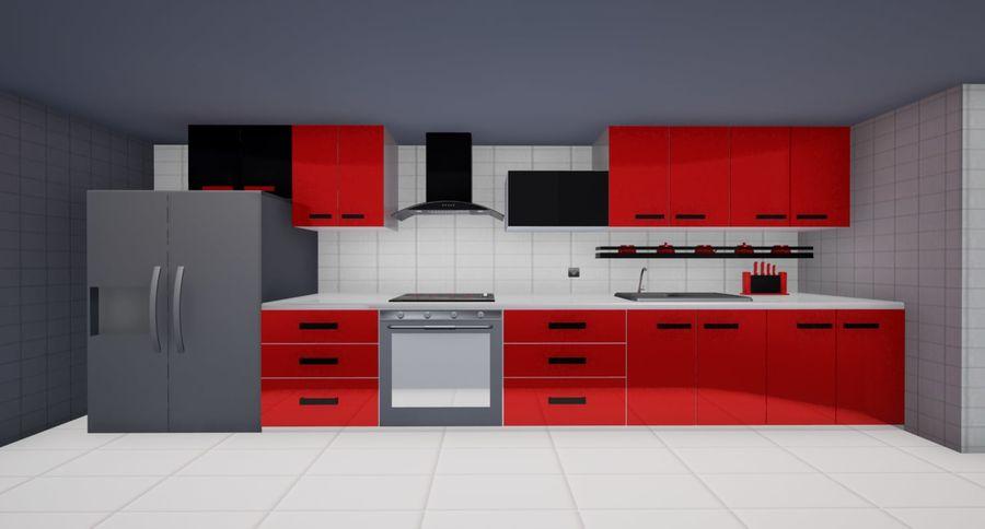Red Kitchen 3D Model $1 -  obj  max  fbx  3ds - Free3D