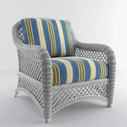 White Wicker Chair Lanai ( Outdoor lounge chair 3d model