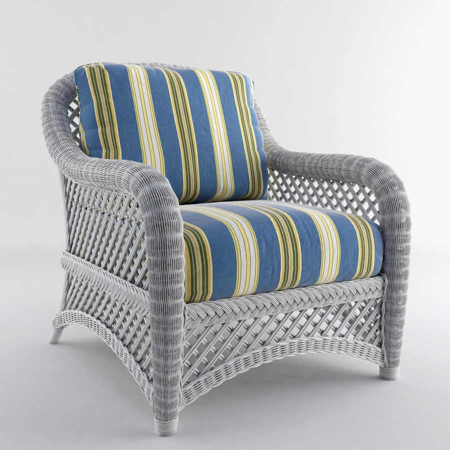 White Wicker Chair Lanai ( Outdoor Lounge Chair Royalty Free 3d Model    Preview No