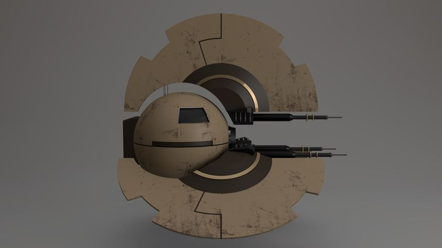 Sci-Fi Drone n2 royalty-free 3d model - Preview no. 8