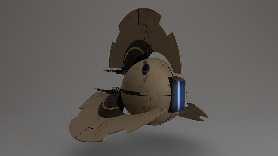 Sci-Fi Drone n2 royalty-free 3d model - Preview no. 5