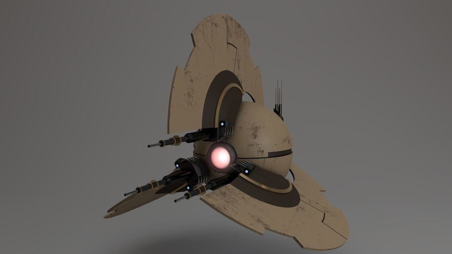 Sci-Fi Drone n2 royalty-free 3d model - Preview no. 3
