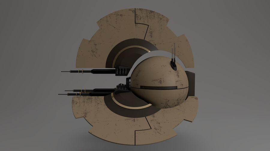 Sci-Fi Drone n2 royalty-free 3d model - Preview no. 4