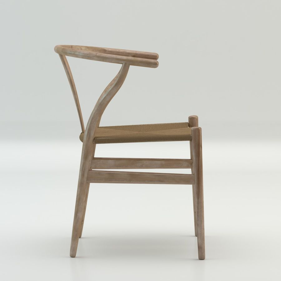 The high quality Scandinavian Wishbone Chair CH24 High Poly model in Light Wood royalty-free 3d model - Preview no. 4