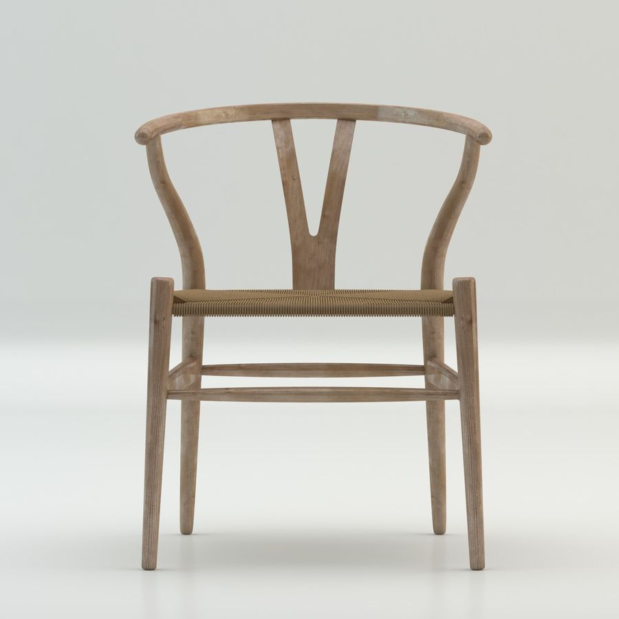 The high quality Scandinavian Wishbone Chair CH24 High Poly model in Light Wood royalty-free 3d model - Preview no. 3