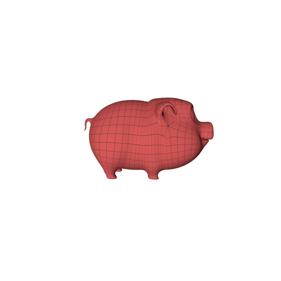 Cartoon pig base mesh royalty-free 3d model - Preview no. 1