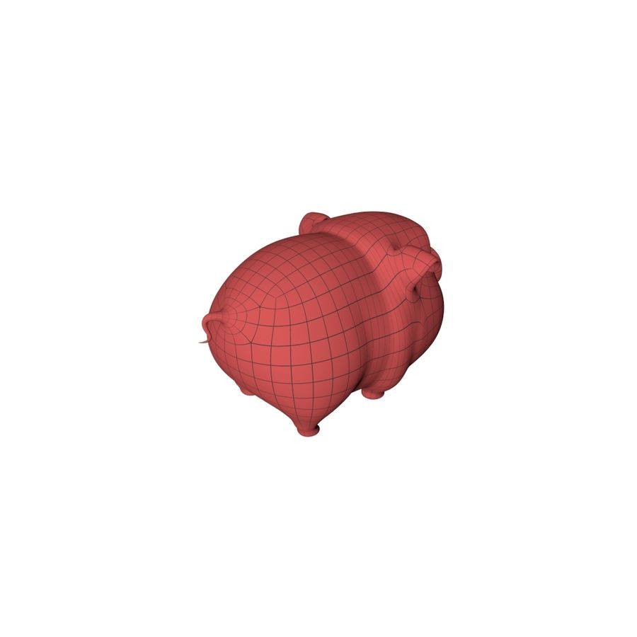 Cartoon pig base mesh royalty-free 3d model - Preview no. 6