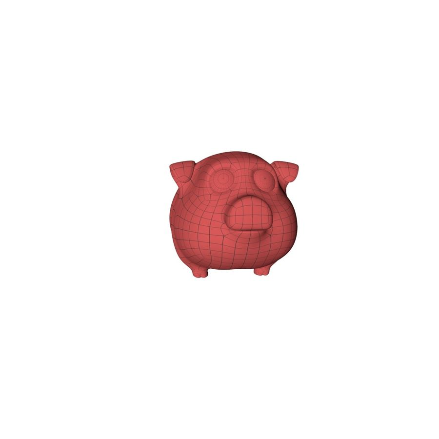 Cartoon pig base mesh royalty-free 3d model - Preview no. 3