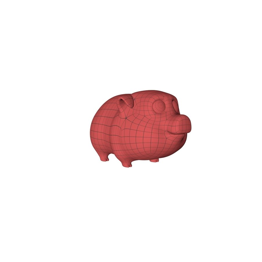Cartoon pig base mesh royalty-free 3d model - Preview no. 2