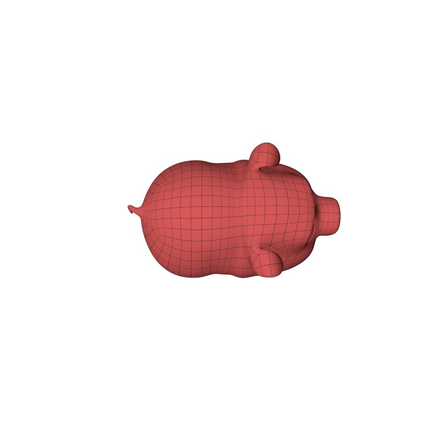 Cartoon pig base mesh royalty-free 3d model - Preview no. 4
