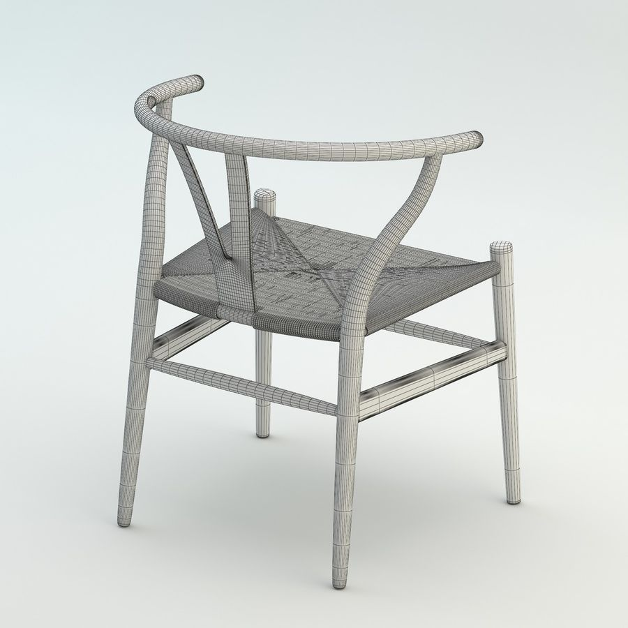 The high quality Scandinavian Wishbone Chair CH24 High Poly model in Brown Wood royalty-free 3d model - Preview no. 9