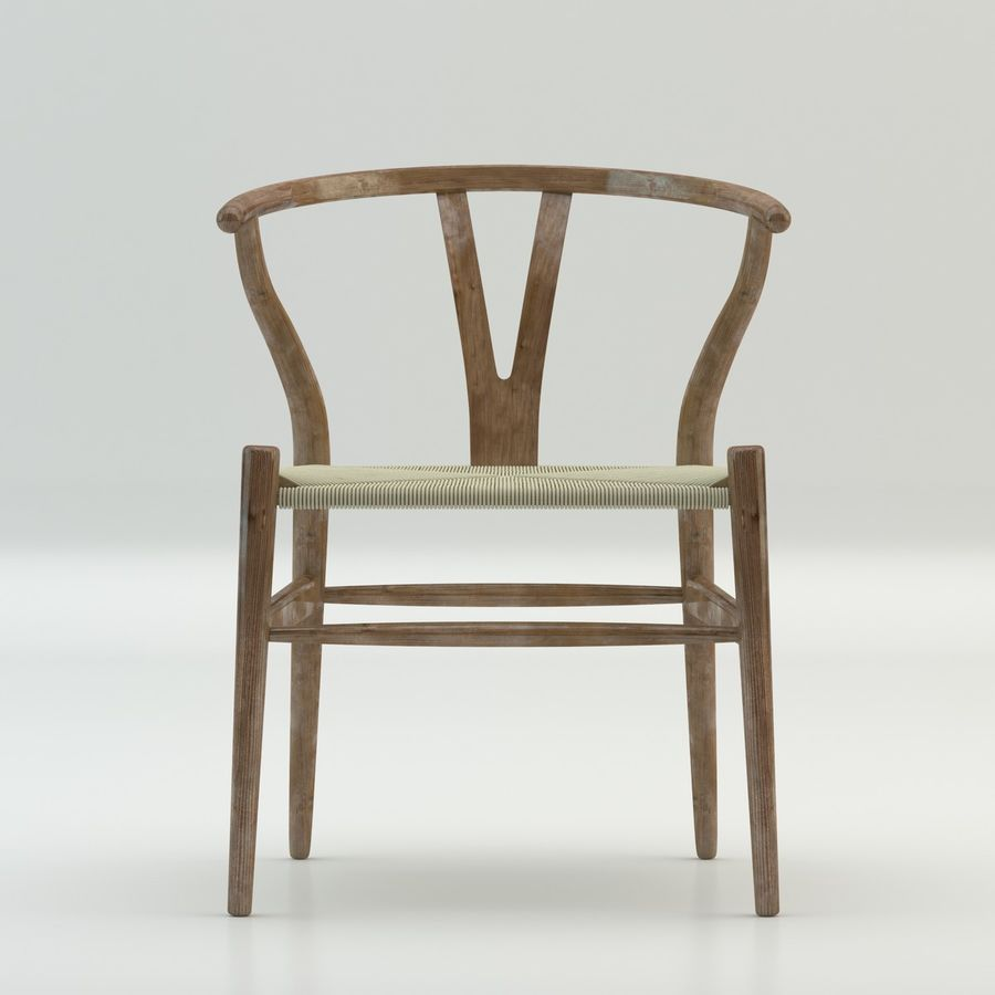 The high quality Scandinavian Wishbone Chair CH24 High Poly model in Brown Wood royalty-free 3d model - Preview no. 3