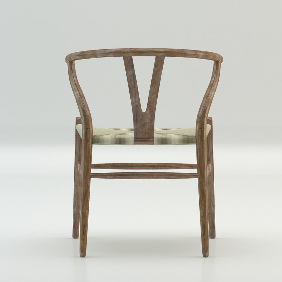 The high quality Scandinavian Wishbone Chair CH24 High Poly model in Brown Wood royalty-free 3d model - Preview no. 5