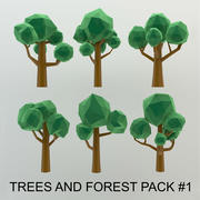 Low Poly Cartoon Trees and forest pack 3d model