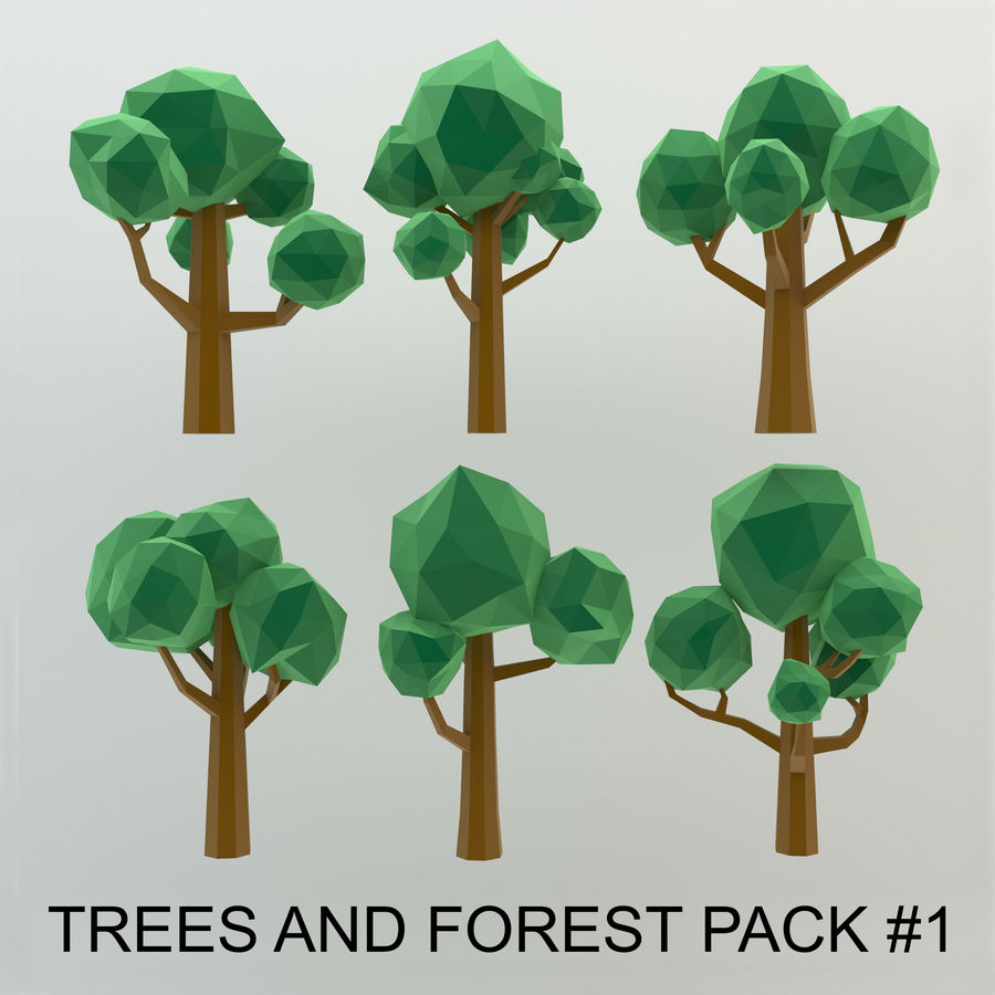 Low Poly Cartoon Trees and forest pack royalty-free 3d model - Preview no. 1