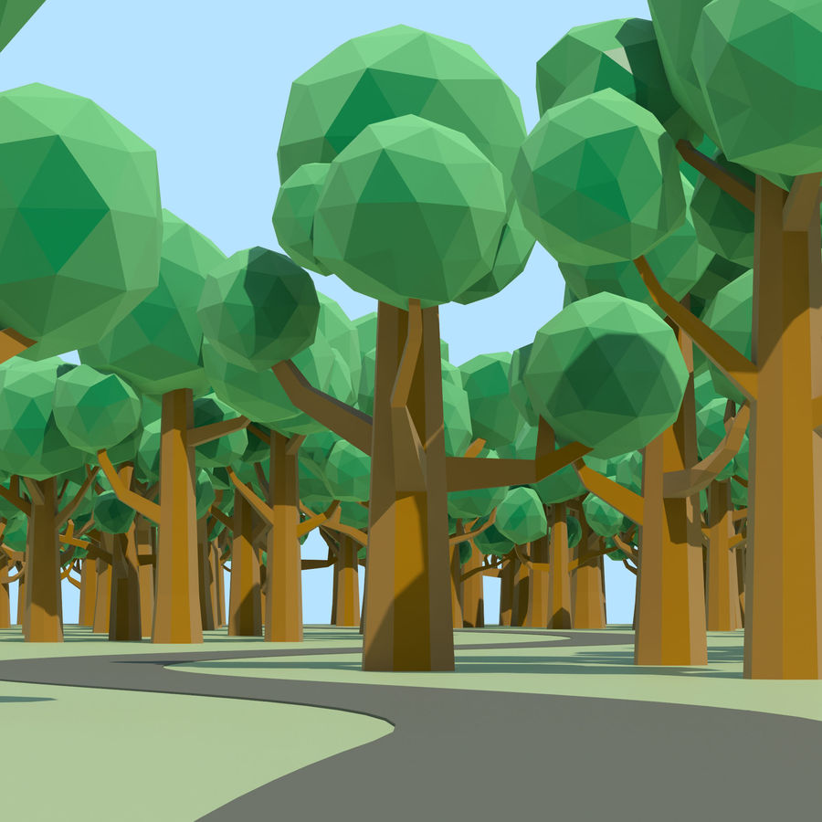 Low Poly Cartoon Trees and forest pack royalty-free 3d model - Preview no. 6