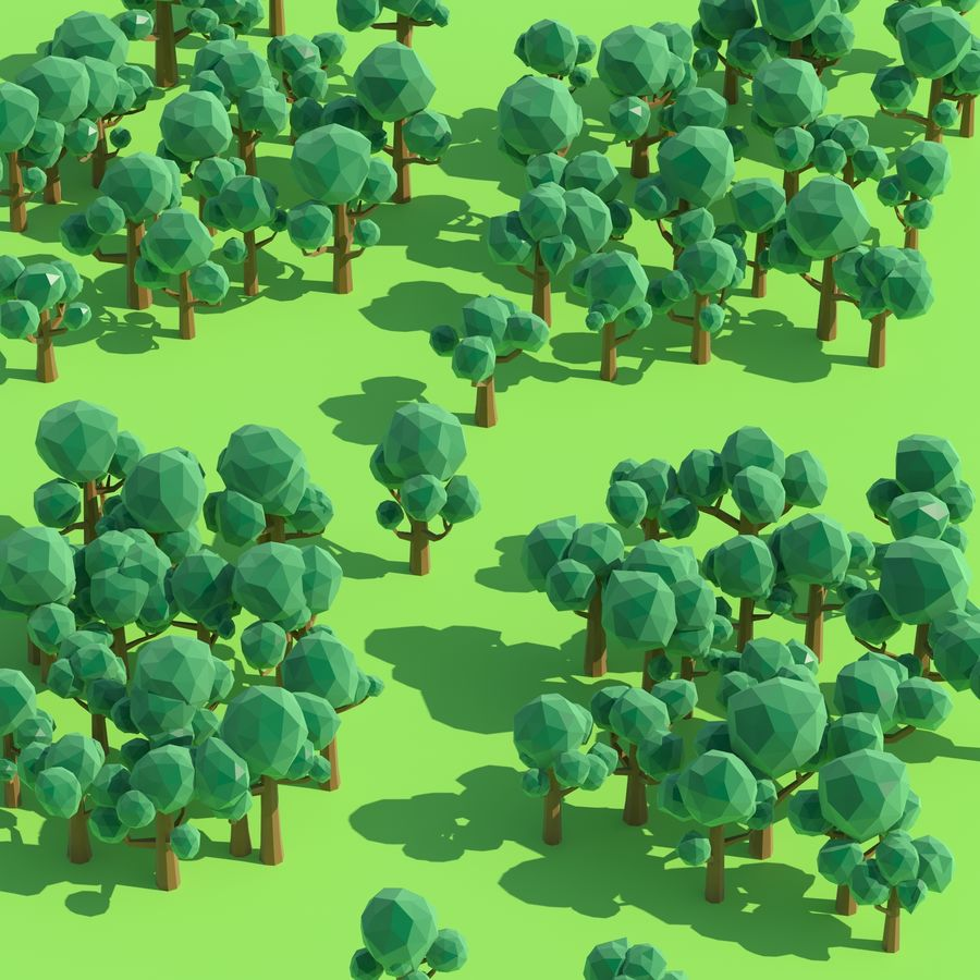 Low Poly Cartoon Trees and forest pack royalty-free 3d model - Preview no. 10