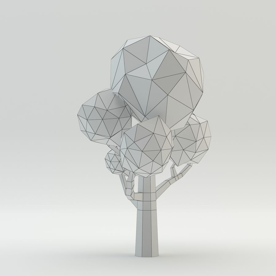 Low Poly Cartoon Trees and forest pack royalty-free 3d model - Preview no. 12