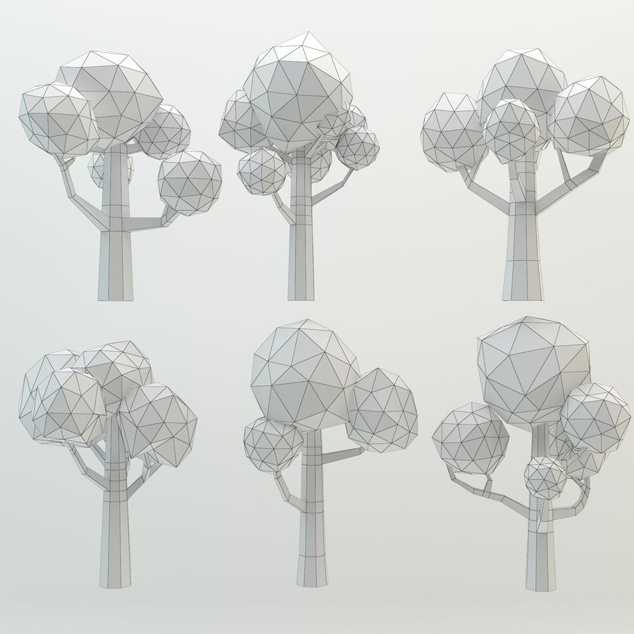 Low Poly Cartoon Trees and forest pack royalty-free 3d model - Preview no. 14
