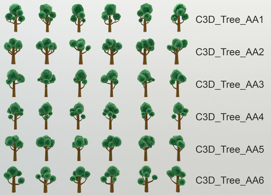 Low Poly Cartoon Trees and forest pack 3D Model $9