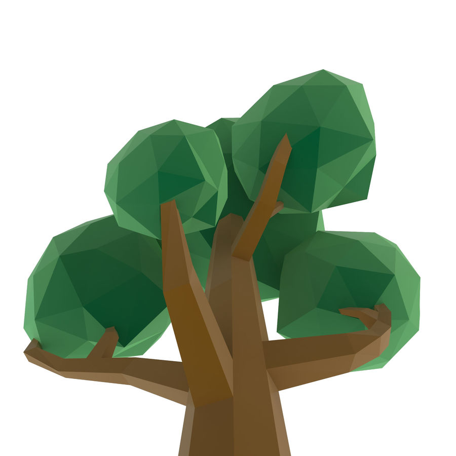 Low Poly Cartoon Trees and forest pack royalty-free 3d model - Preview no. 5
