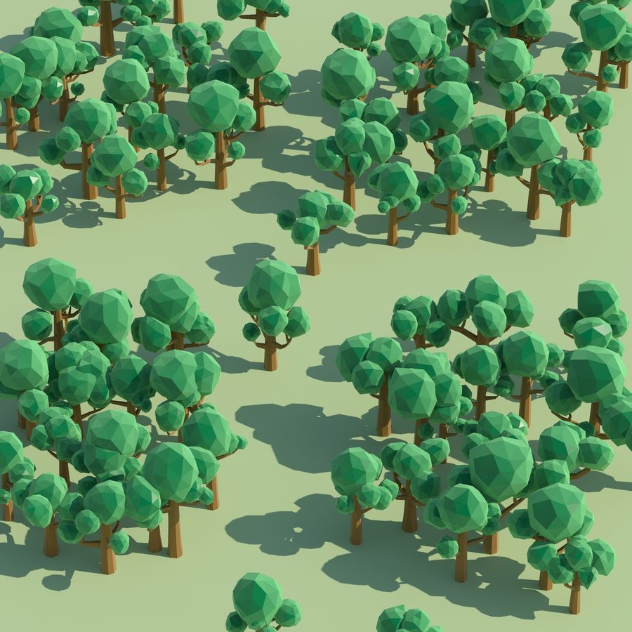 Low Poly Cartoon Trees and forest pack royalty-free 3d model - Preview no. 9