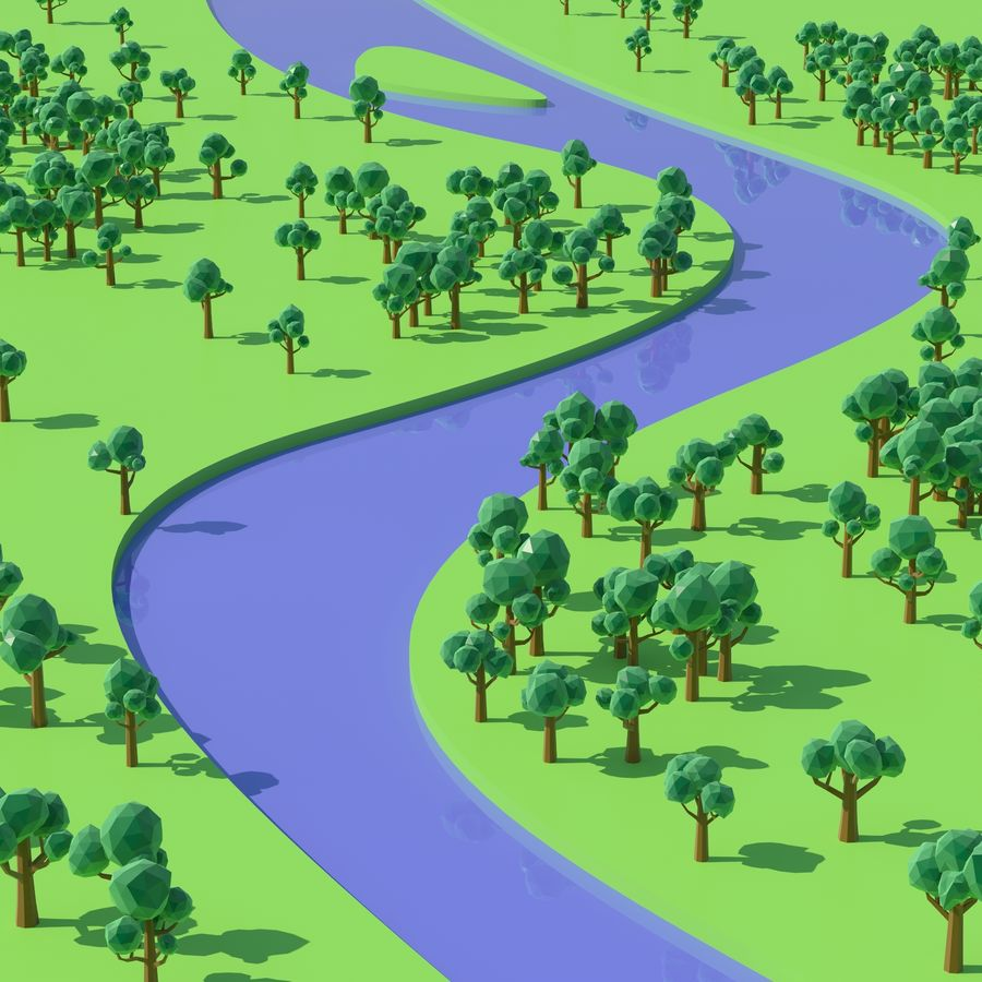 Low Poly Cartoon Trees and forest pack royalty-free 3d model - Preview no. 8
