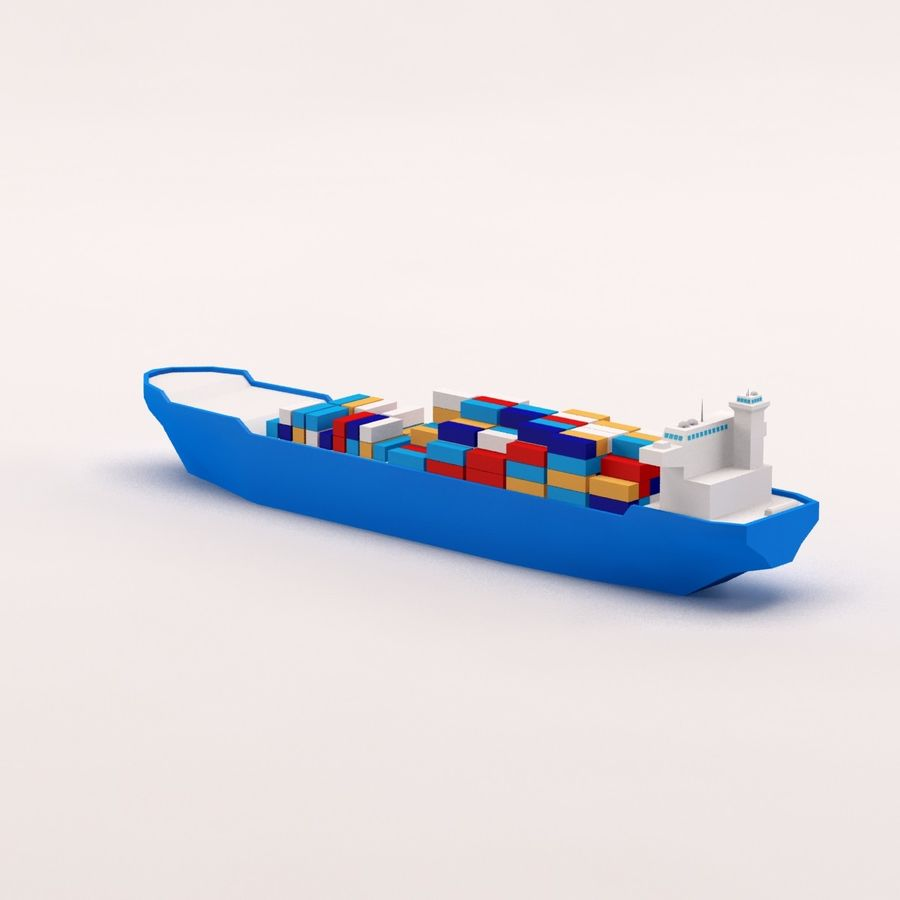 Cartoon low poly cargo ship royalty-free 3d model - Preview no. 5