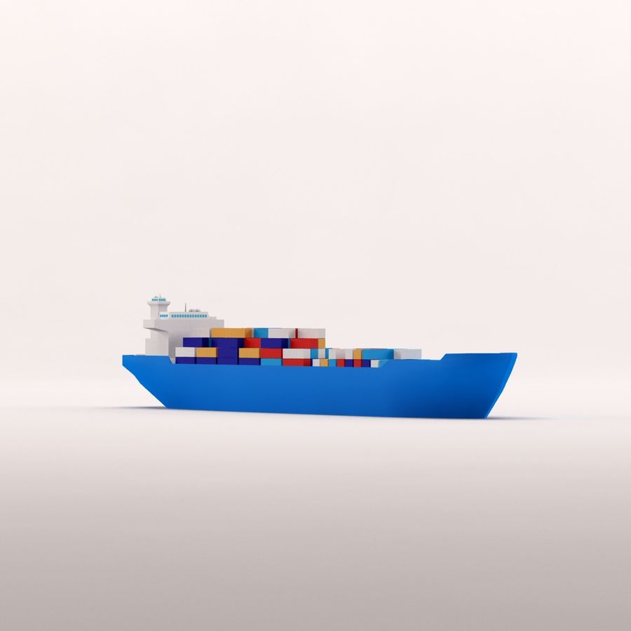 Cartoon low poly cargo ship royalty-free 3d model - Preview no. 13