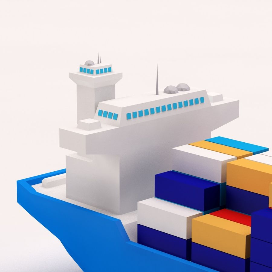 Cartoon low poly cargo ship royalty-free 3d model - Preview no. 8