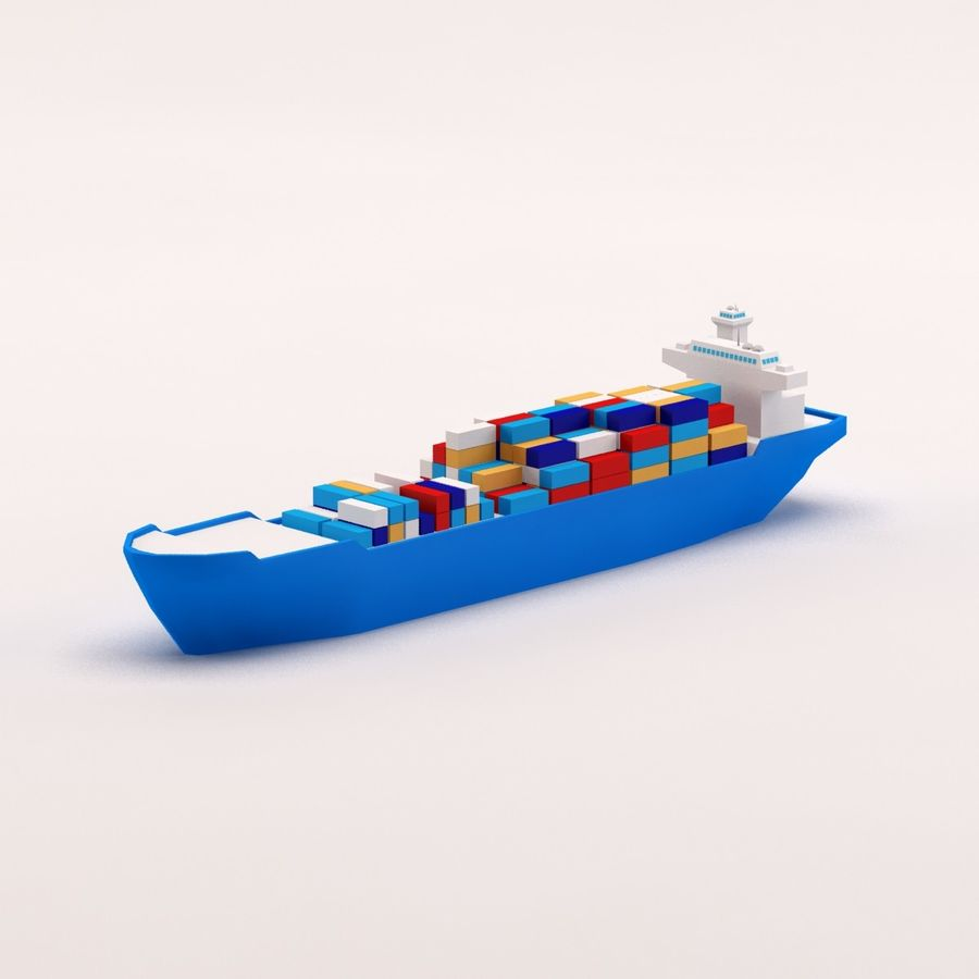 Cartoon low poly cargo ship royalty-free 3d model - Preview no. 3