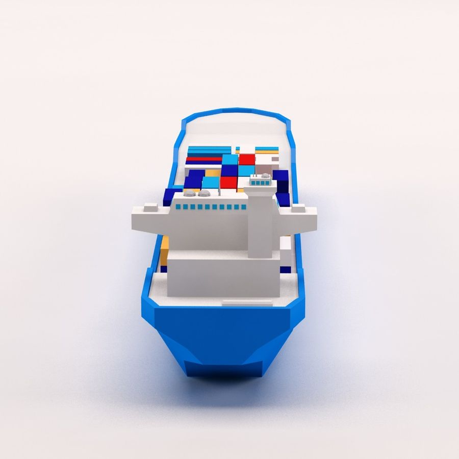 Cartoon low poly cargo ship royalty-free 3d model - Preview no. 6