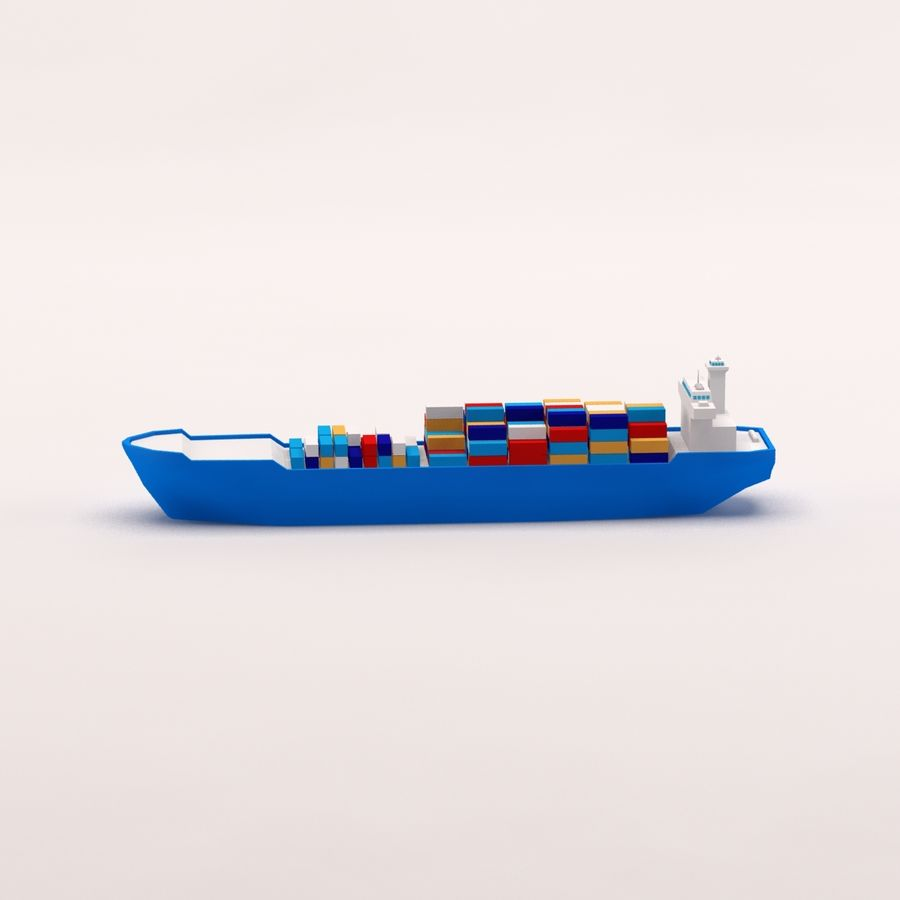 Cartoon low poly cargo ship royalty-free 3d model - Preview no. 4