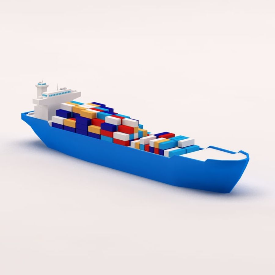 Cartoon low poly cargo ship royalty-free 3d model - Preview no. 1