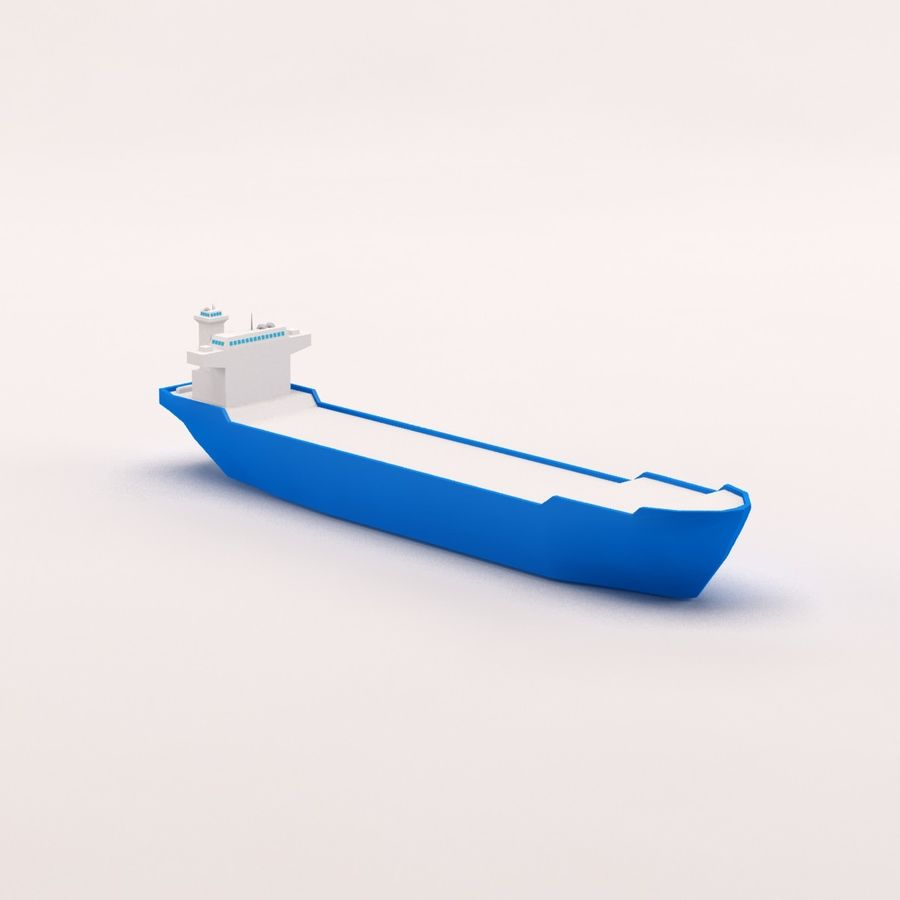 Cartoon low poly cargo ship royalty-free 3d model - Preview no. 11