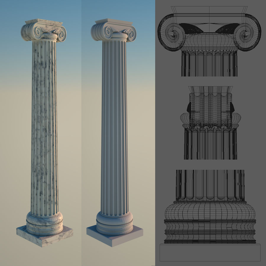 Ionic column 1 royalty-free 3d model - Preview no. 1