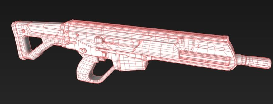 Future Assault Rifle royalty-free 3d model - Preview no. 5