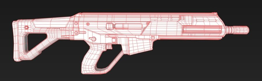 Future Assault Rifle royalty-free 3d model - Preview no. 6